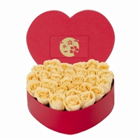 Arranjo de Rosas Colombianas Champanhe Flower Box Heart
