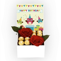 Kit com Rosas Colombianas - Happy Birthday